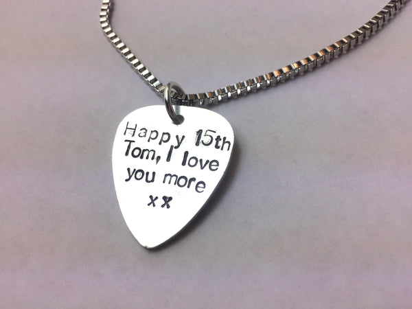 Custom guitar plectrum necklace