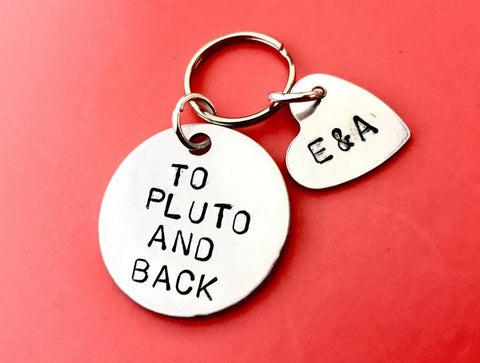 Keychain To Pluto and Back Personalised gift Perfect boyfriend gift idea! Surprise you hubby! Get a perfect quirky present on your anniversary for girlfriend!