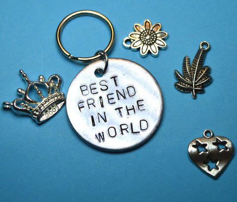 Keyrings - Best Friend Gift- Best Friend In The World With Charms