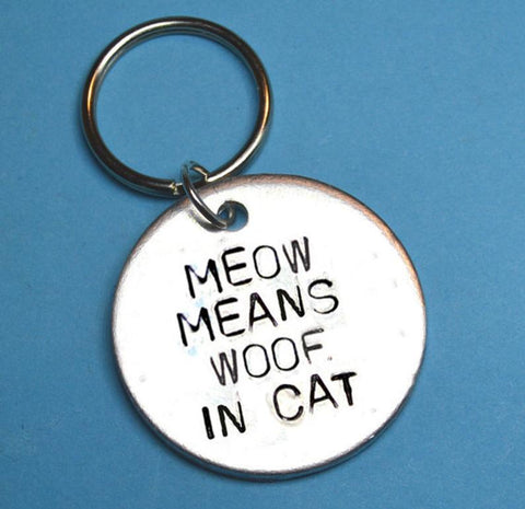 Meow Means Woof In Cat Keychain