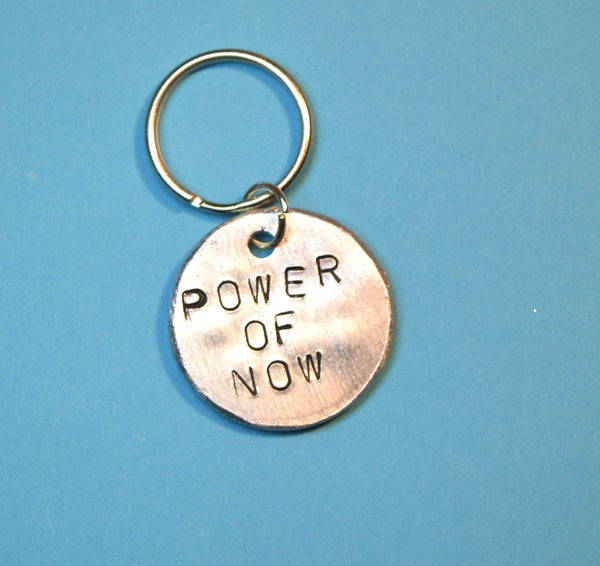 Power of now - Spiritual Keyring,  gift for buddhist, Handmade Artisian gift shop UK, gift ideas, fun and cute keychains , hand stamped jewelry, Spiritual gift, buddhist gift, new years gift, best friend keychain, boyfriend keychain, gift for boyfriend , boyfriend gift, cute gift for boyfriend, hubby gift for anniversary, anniversary gift for him, hand stamped keychains, handmade gifts , Personalised gifts, stamped keychains, best friend gifts,