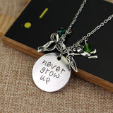 "Peter Pan Necklace ""Never grow up""  Jewelry Tinkerbell Neverland Necklace"