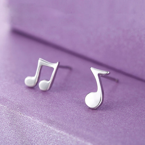 Musical Notes Stud Silver Earrings
