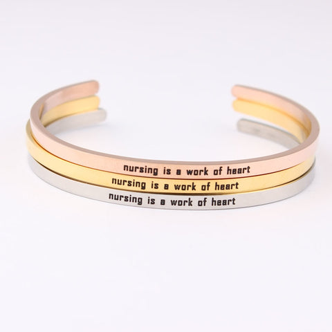 Nursing is a work of heart Bracelet Nurse gift
