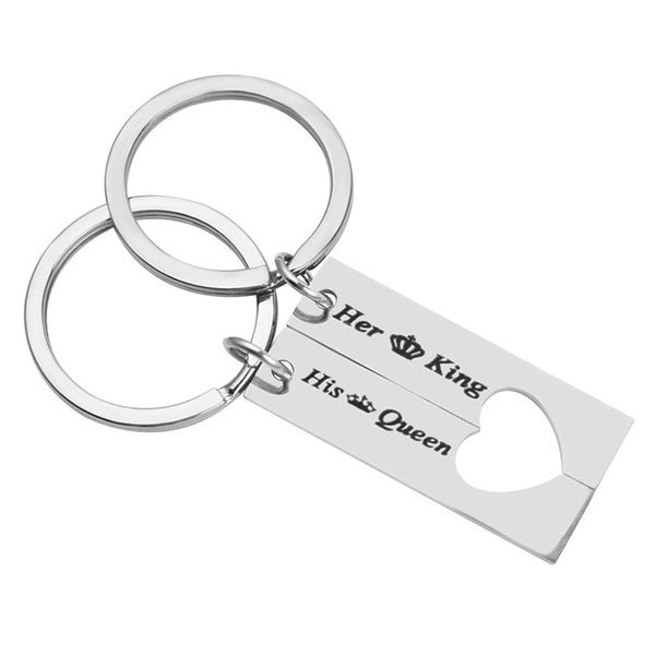 Her King and His queen Matching couple keyrings  - Anniversary gift  silver