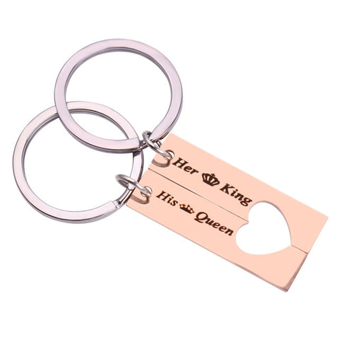 rose gold Her King and His queen Matching couple keyrings  - Anniversary gift