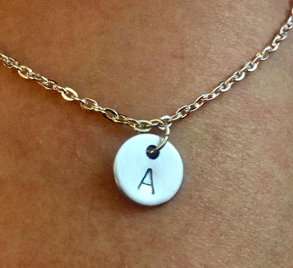 Personalised Initial Necklace  Hand stamped Jewellery - Handmade - one of the kind Gift.