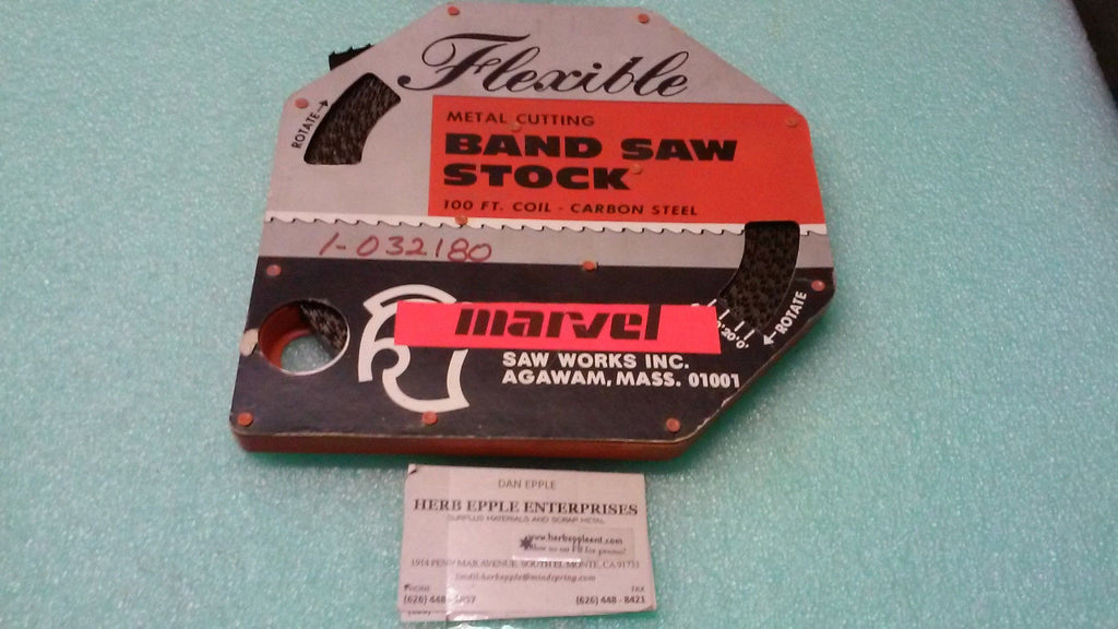 "MARVEL FLEXIBLE METAL CUTTING BAND SAW STOCK 100' .025"" 3 SKIP *RA-4"