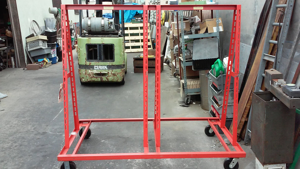 "VINCE BASNIK CO. MATERIAL HANDLING SYSTEM STOCK RACK 40.5""X72"" X HEIGHT 65"" RED"