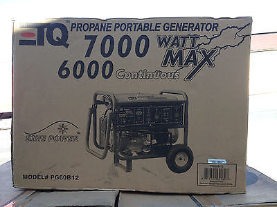 New ETQ PG60B12  SINE POWER Portable Propane 7000 Watt Generator