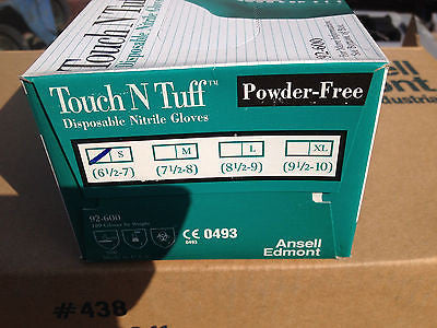 USA Made GLOVES 50 pairs ANSELL 92-600 SM TOUCH N TUFF NITRILE POWDER FREE (R)