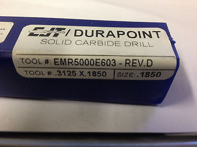 DURAPOINT SOLID CARBIDE DRILL EMR5000E603 SIZE .3125 x .1850 *RA-6