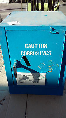 USED PAINTED BLUE Justrite Flammable Liquid Storage Cabinet 4 GALLON USA (R)