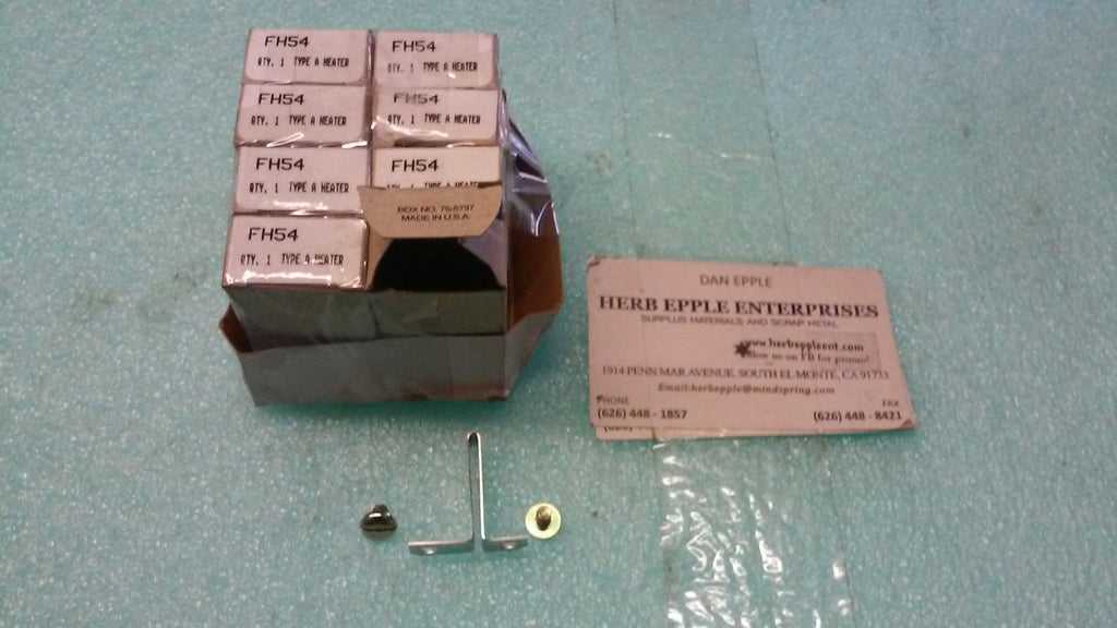 LOT OF 8 NEW, CUTLER HAMMER FH54 TYPE A HEATER ELEMENT