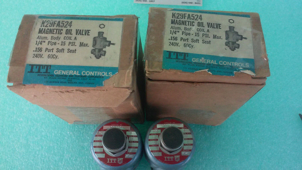 LOT OF 2 K29FA524 ITT MAGNETIC OIL VALVE*RA-10 (UW52)