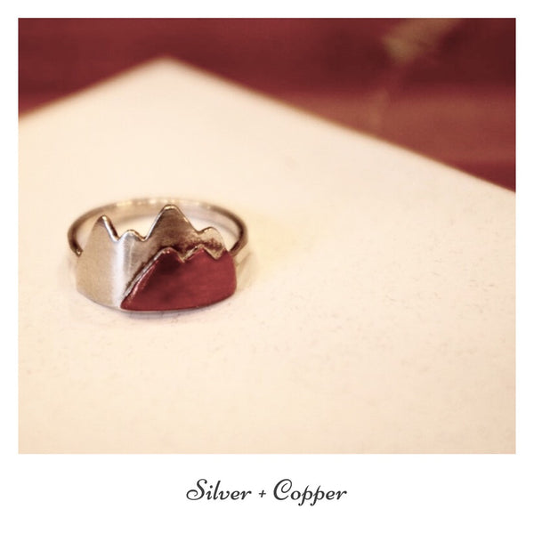 Silver + Copper Mountain Range Ring
