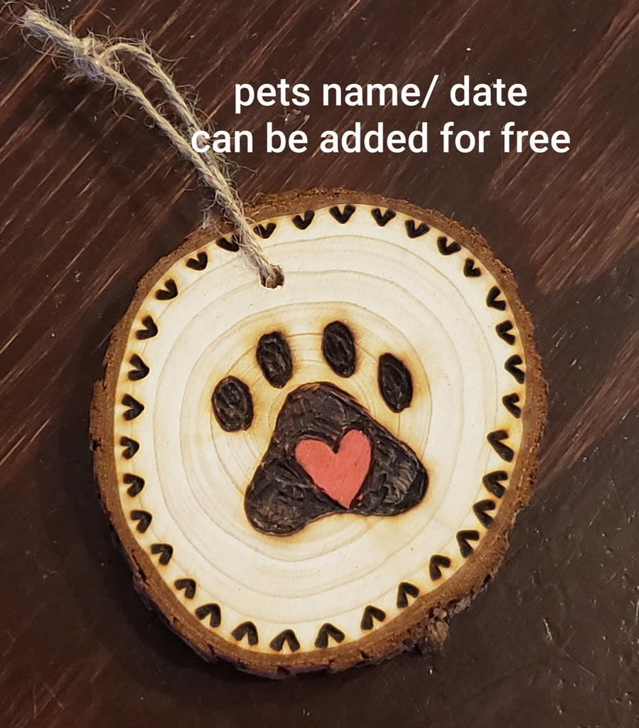 Paw print wood burned round ornaments (personalize for free)