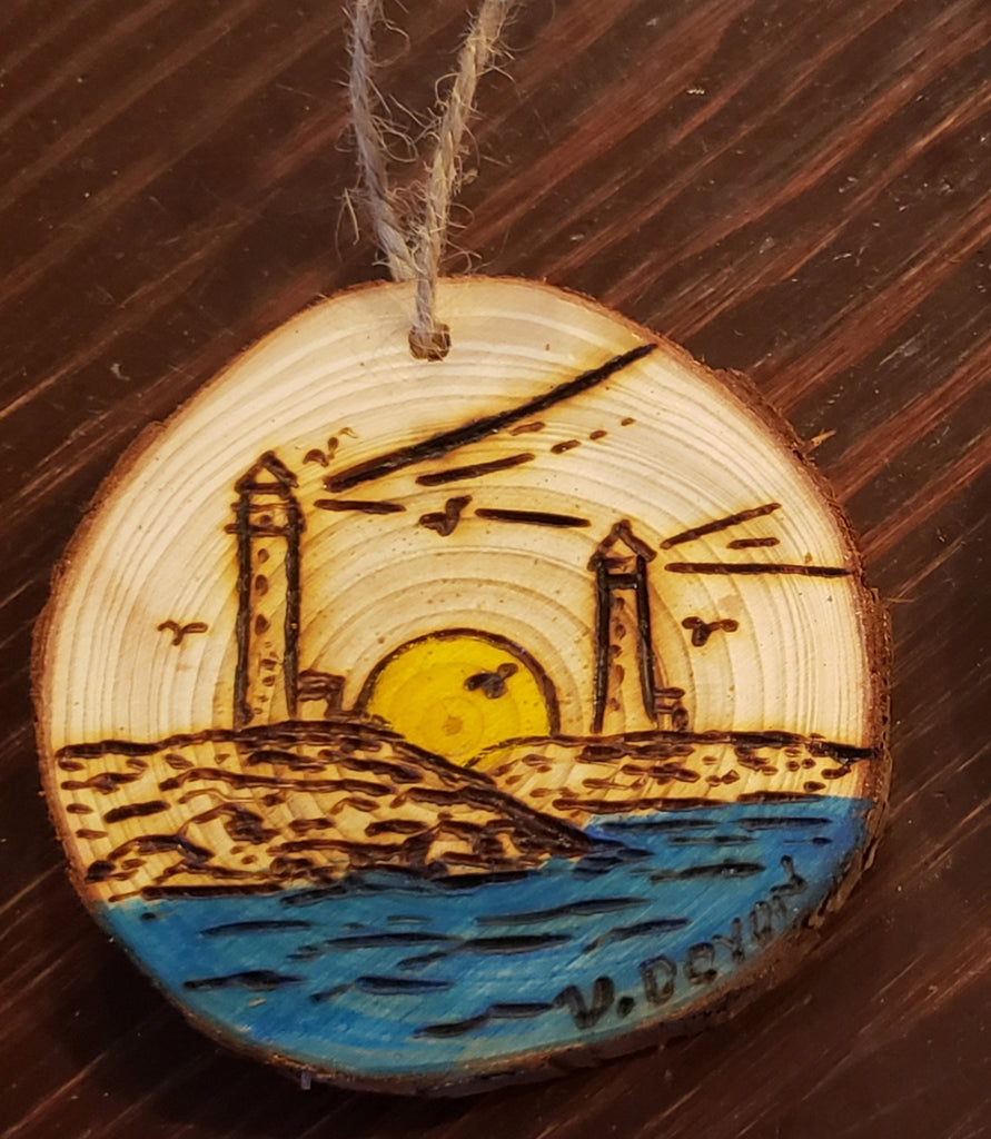 Rockport Twin Lighthouses Sunrise wood burned round ornaments (personalize for free)
