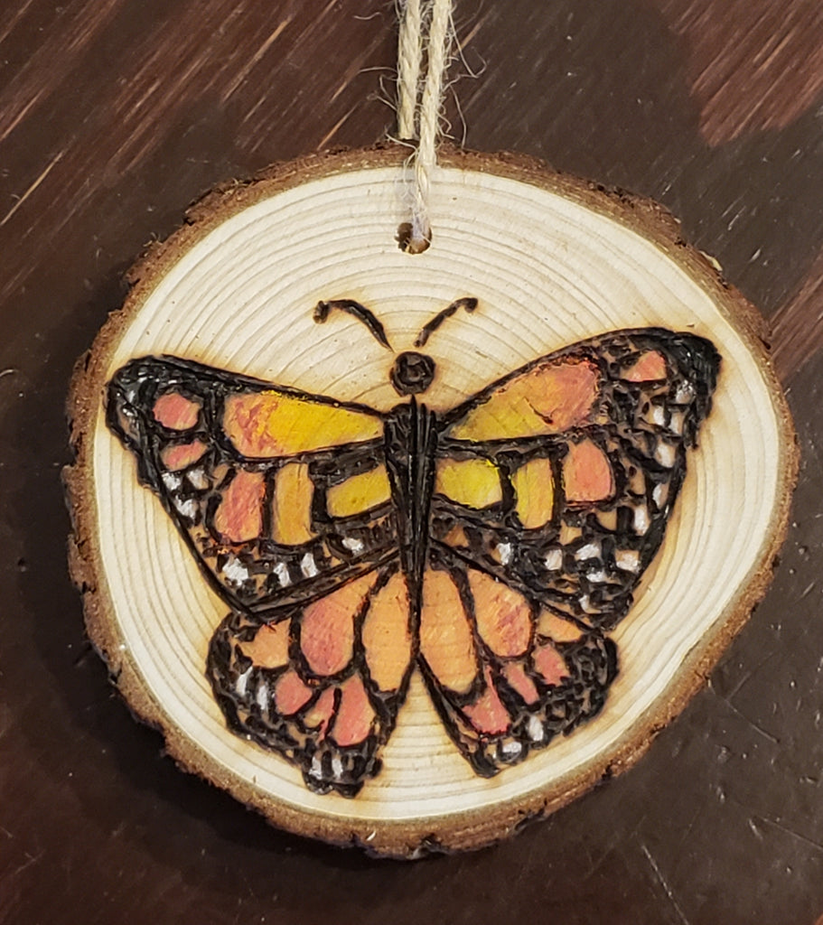 Monarch butterfly wood burned round ornaments (personalize for free)