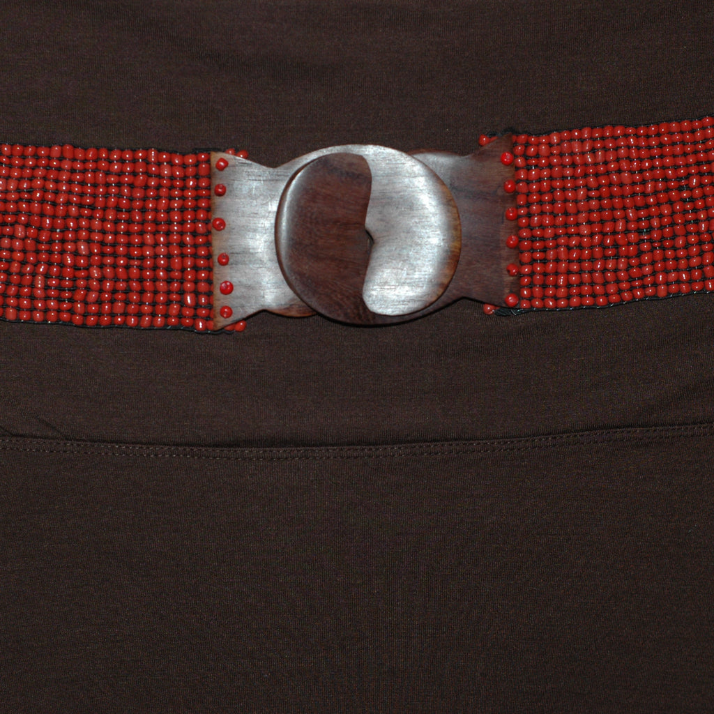 Cranberry Red Stretchy Beaded Belt - Soulstice Shop