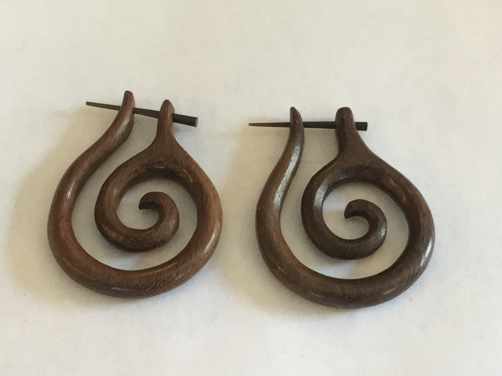 Carved Spiral Wooden Earrings