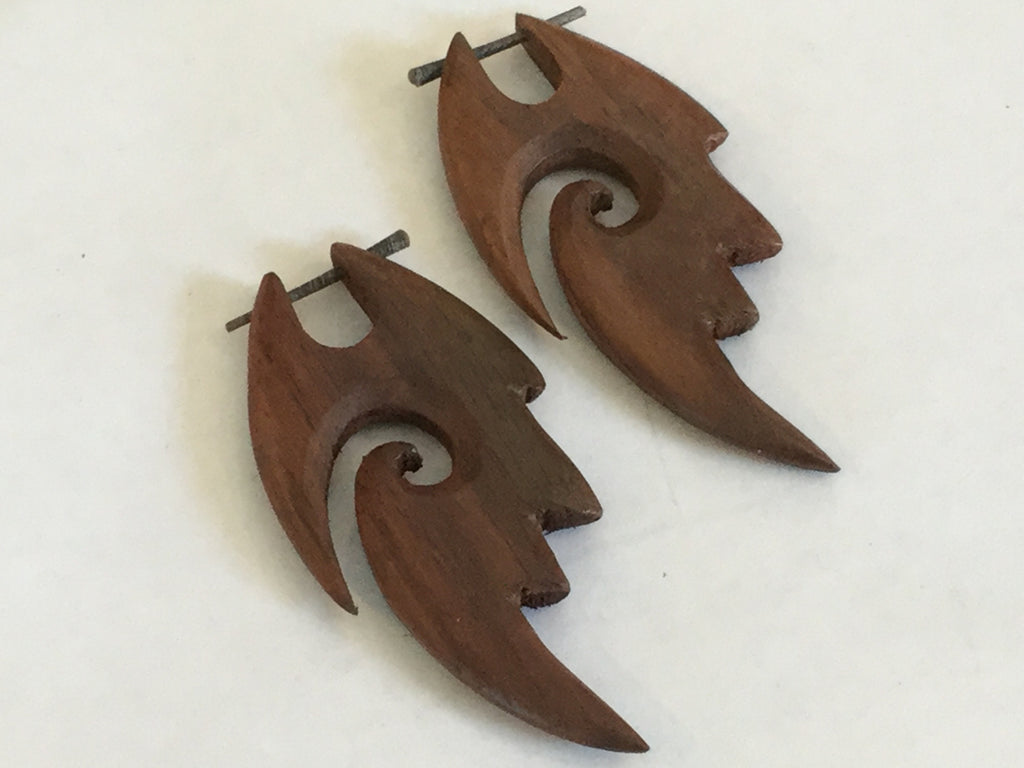 Tribal Fire Spiral Earrings carved from Wood