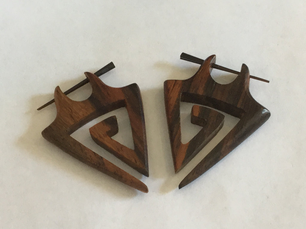 Carved Triangular Wood Earrings