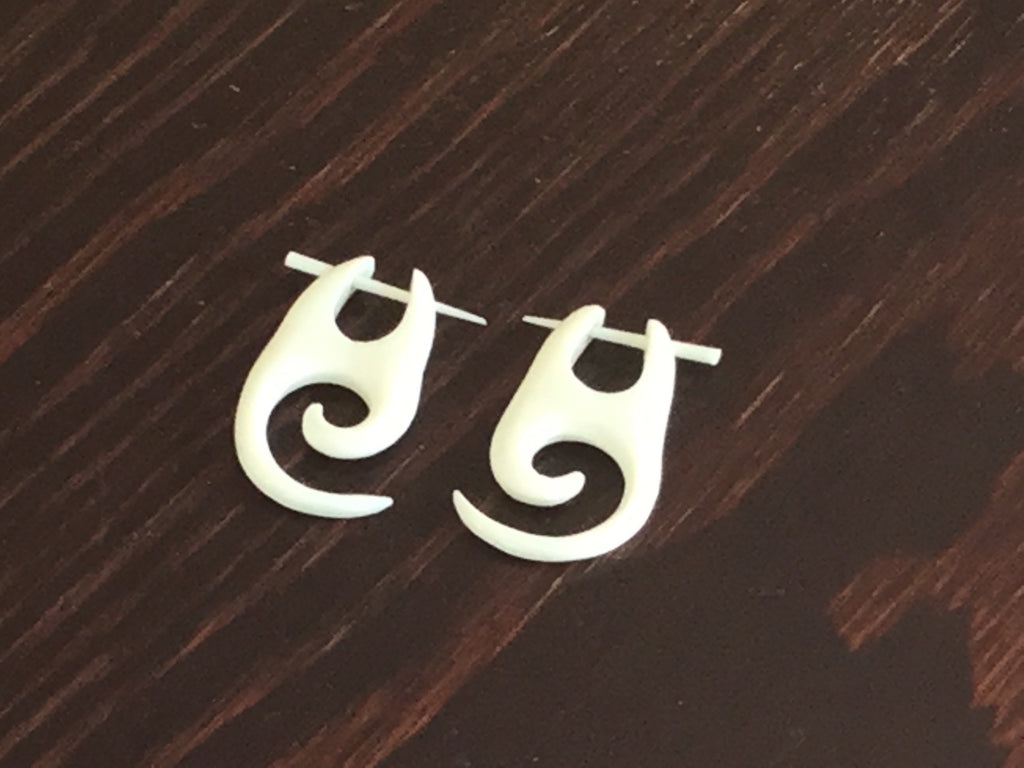 White Bone Spiral Earrings