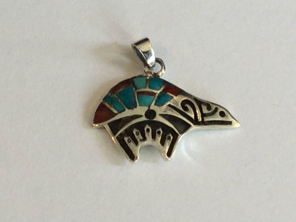 Native American Zuni Bear Sterling Silver Charm 1""