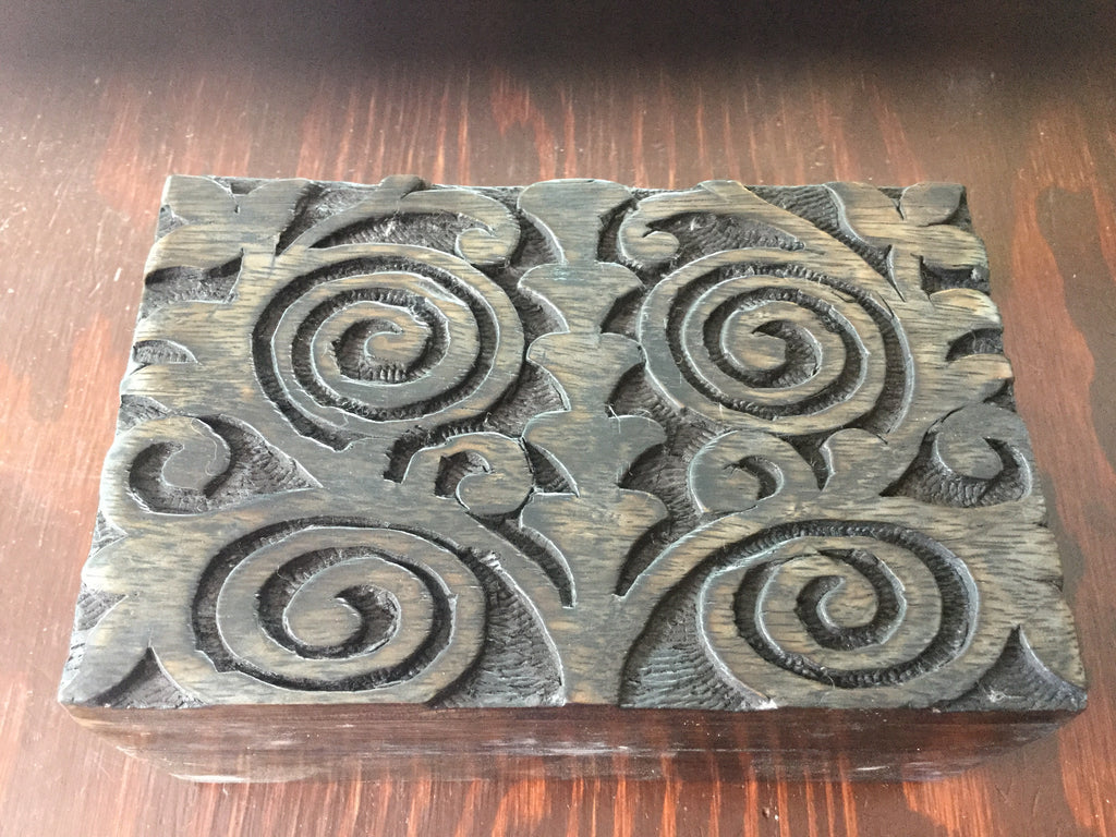 Wooden Box Carved Spiral Design