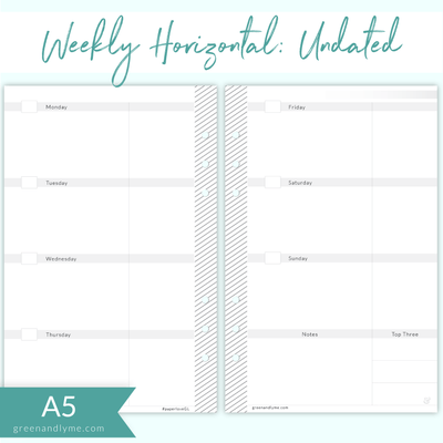 A5 Weekly Horizontal Undated