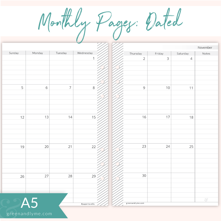 A5 Lined Monthly July 2017 - June 2018