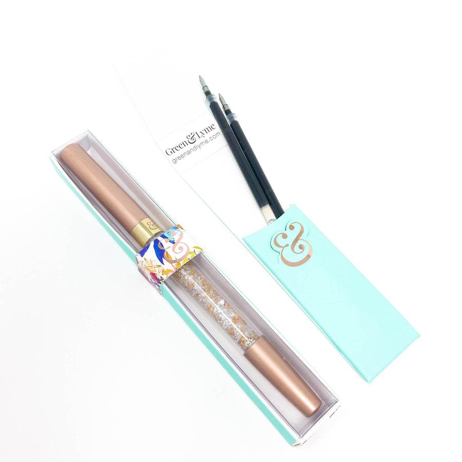Imperfect Enchanted Spark Pen: Bronze Pearl Crystal Gel Pen