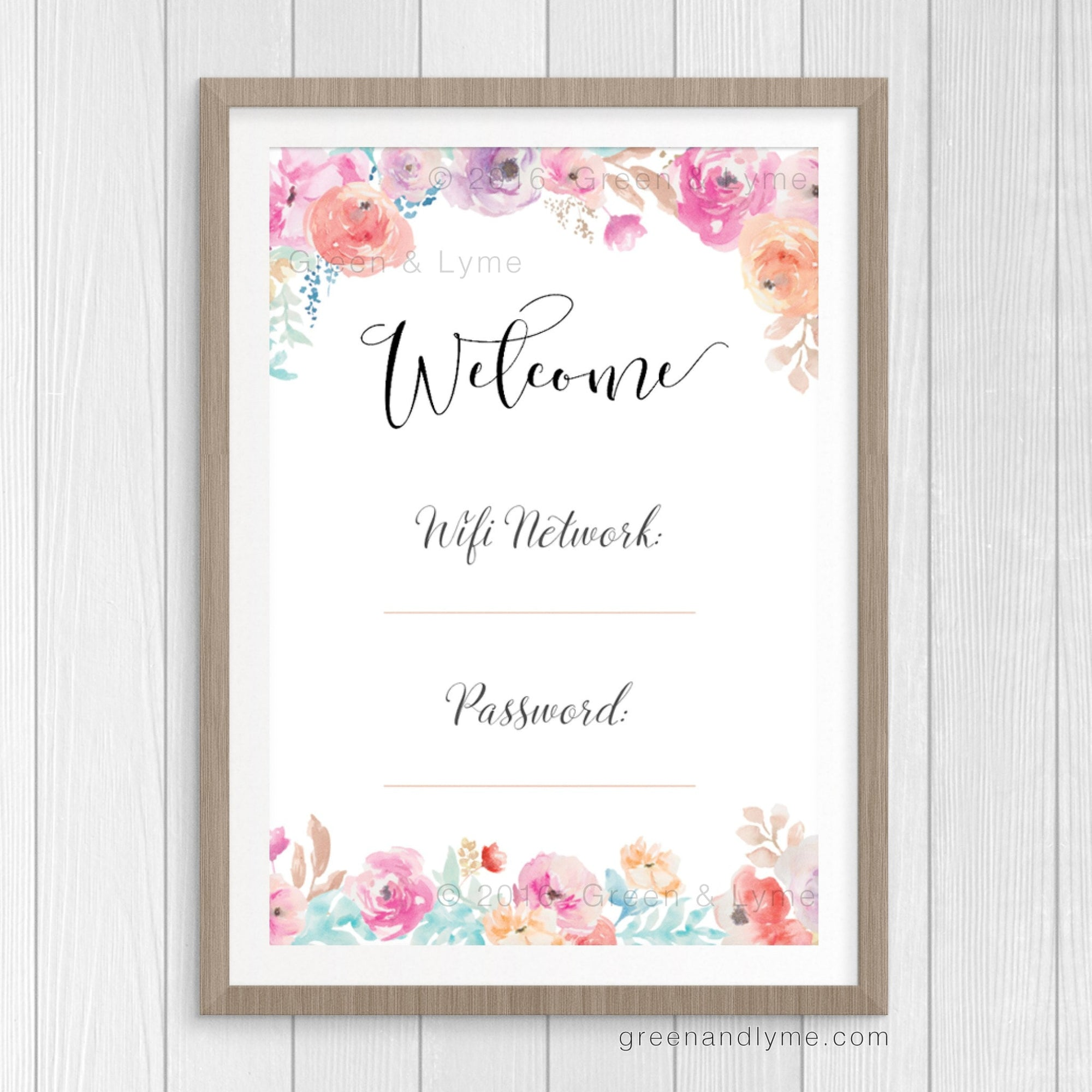 photo relating to Password Printable identified as Printable Wall Artwork: Wifi Pword Print