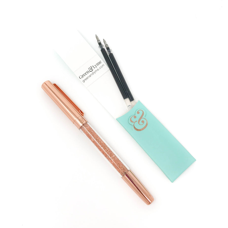 Rosé Spark Pen: Rose Gold Crystal Gel Pen