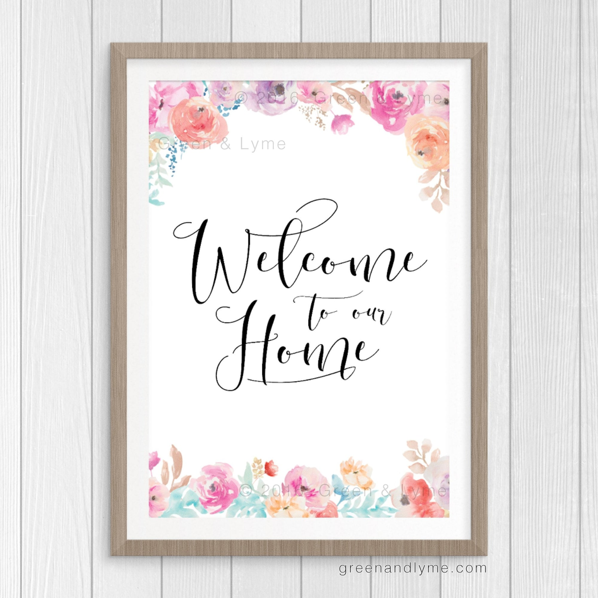 Welcome To Our Home: Printable Wall Art - Green and Lyme