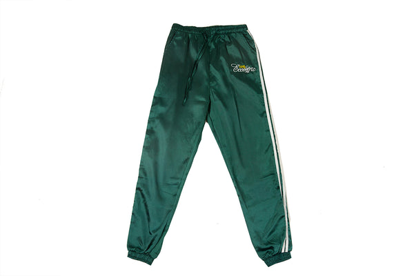 Satin Logo Embroidered Track Pants - Green