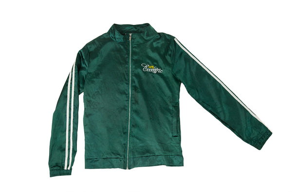 Satin Logo Embroidered Track Jacket - Green