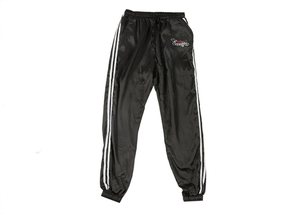 Satin Logo Embroidered Track Pants - Black