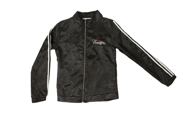Satin Logo Embroidered Track Jacket - Black