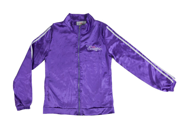 Satin Logo Embroidered Track Jacket - Purple
