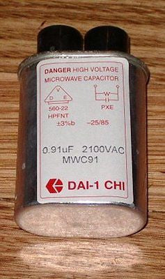 High Voltage Microwave Capacitor 0.91MFD 2100V - Part # MWC91