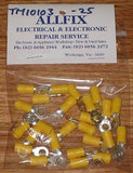Yellow Insulated 5.3mm Ring Crimp Terminals (Pkt 25) - Part # TM10103-25