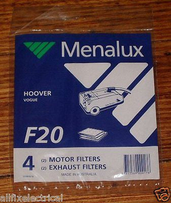 Hoover Vogue Motor and Exhaust Filters (Pkt 4) - Part # F20