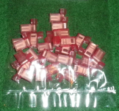 Red Insulated 600V Flag Female 4.8mm Spade Terminals (Pkt 25) # 2-520335-2-25
