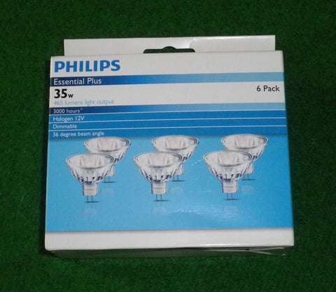 Philips 35Watt 12Volt MR16 36deg Dichroic Halogen Globe (Pkt 6) - Part # 230526