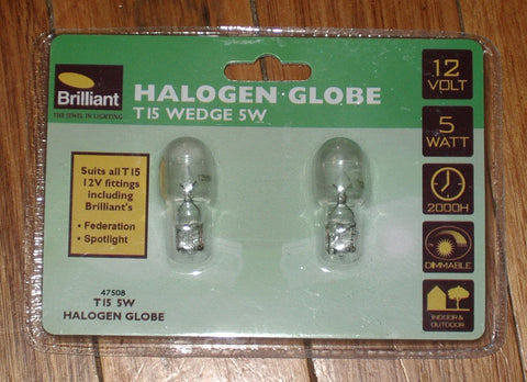 5Watt 12Volt Halogen Wedge Globe with T15 Base (Pkt 2) - Part # 475088