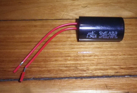 6uF 450Volt Motor Run Capacitor with Wires - Part # 6SMR450