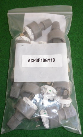 Grey 3pin 10Amp 240V Mains Plug Tops (Qty 10) - Part # ACP3P10GY10