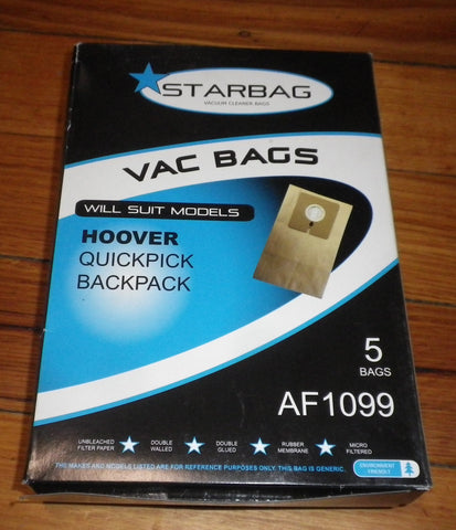 Hoover QuickPick Backpack Vacuum Bags (Pkt 5) - Part # AF1099
